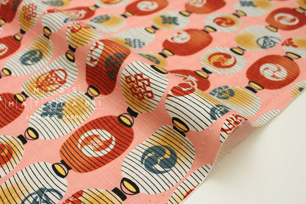 Japanese Fabric Japanese Lanterns dobby - peach, orange - 50cm