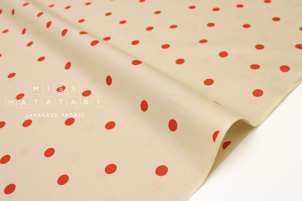 Japanese Fabric Polka Dots- cotton lawn - tea, fire red - 50cm