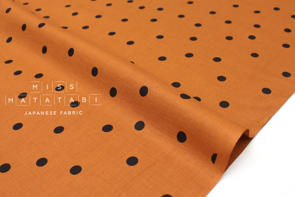 Japanese Fabric Polka Dots- cotton lawn - terracotta, black - 50cm
