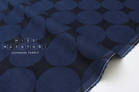 Japanese Fabric Corduroy Big Polka Dots - navy blue - 50cm