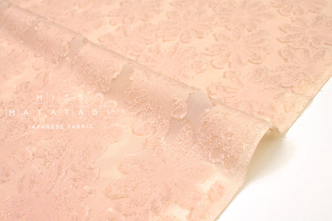 Japanese Fabric Cut Jacquard Floral - pink, metallic gold - 50cm