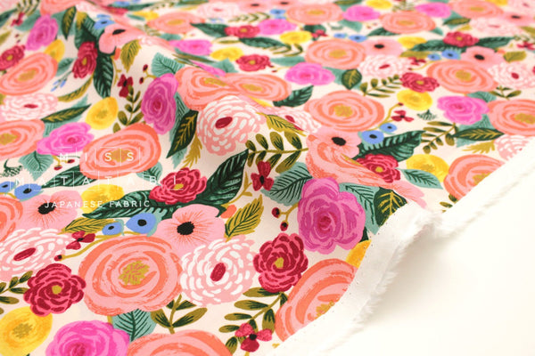 Cotton + Steel English Garden rayon - Juliet Rose cream - 50cm