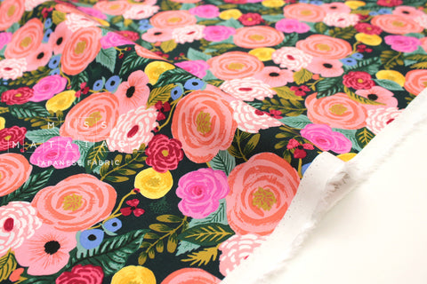 Cotton + Steel English Garden rayon - Juliet Rose navy - 50cm