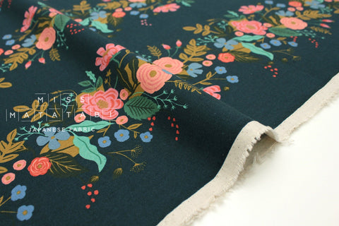 Cotton + Steel English Garden canvas - garden vines navy - 50cm