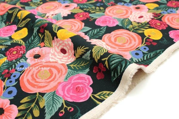 Cotton + Steel English Garden canvas - Juliet Rose navy - fat quarter