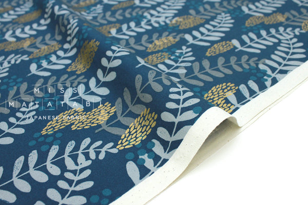 Cotton + Steel Imagined Landscapes - fern dell - navy, metallic - fat quarter