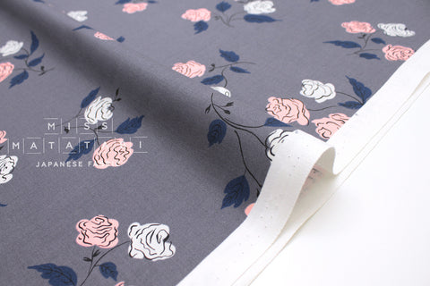 Cotton + Steel Steno Pool - roses - shadow - 50cm