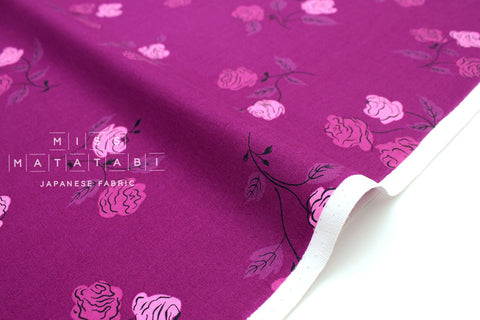 Cotton + Steel Steno Pool - roses - magenta - 50cm