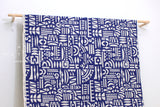 Japanese Fabric Kokka Ellen Baker Stencil - Cut Out - blue, natural - 50cm