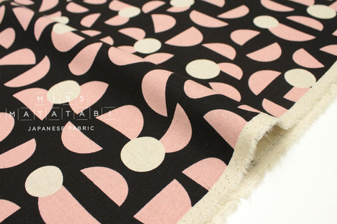Japanese Fabric Kokka Ellen Baker Stencil - Slices - pink, black - fat quarter