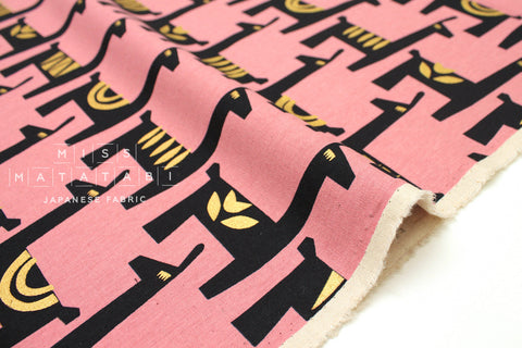 Japanese Fabric Kokka Ellen Baker Stencil - Llamas - pink, metallic gold - fat quarter