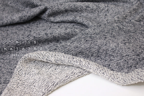 Japanese Fabric Gauze French Terry Knit - navy, grey - 50cm