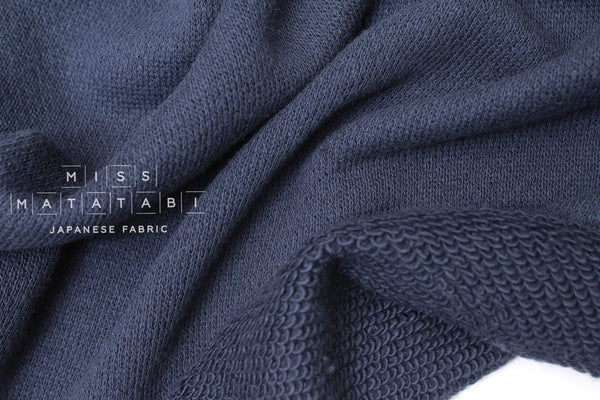 Japanese Fabric Loopy French Terry Knit - navy blue - 50cm