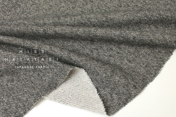 Japanese Fabric Shimmer French Terry Knit - grey, gold - 50cm