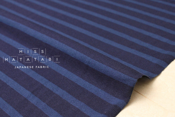 Japanese Fabric Jersey Knit Stripes - blue - 50cm