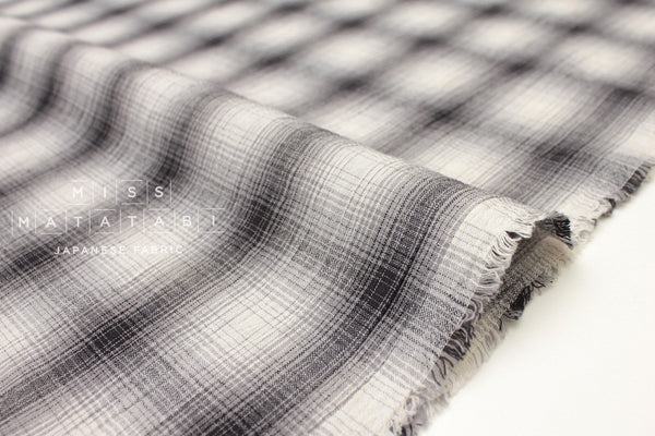 Japanese Fabric Textured Plaid - charcoal - 50cm
