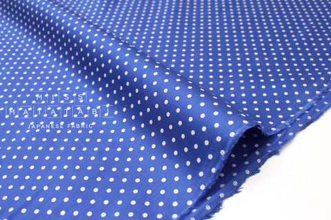 Japanese Fabric Polka Dot Sateen - cobalt blue - 50cm