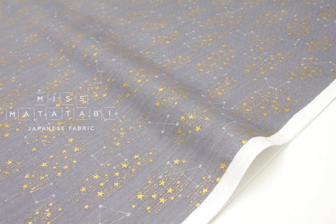 Japanese Fabric Kokka Starry Constellations - grey, metallic gold  - 50cm