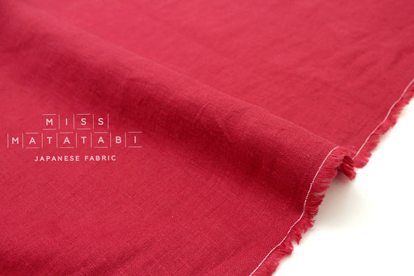 Japanese Fabric 100% brushed linen - red-  50cm