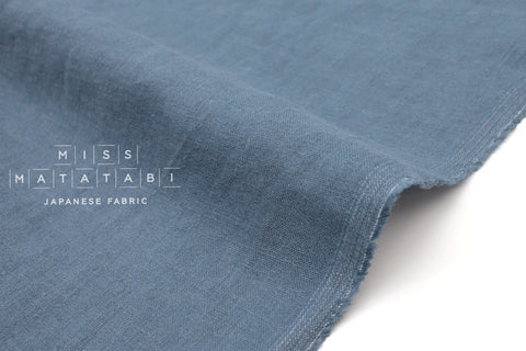 Japanese Fabric 100% brushed linen - smokey blue -  50cm