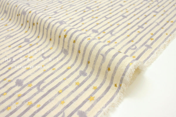 Japanese Fabric Kokka Moon and Starry Stripes - grey, cream, metallic gold  - 50cm