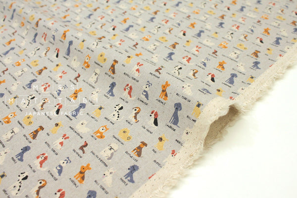 Japanese Fabric Kokka Trefle Tiny Pups - blue, grey - fat quarter