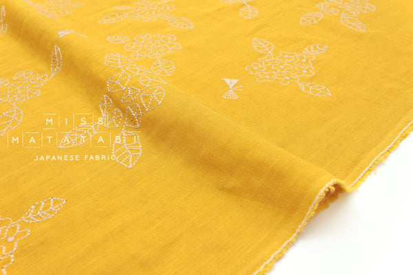 Japanese Fabric Kokka embroidered double gauze - leaves, butterfly - mustard yellow - 50cm