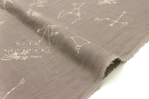 Japanese Fabric Kokka embroidered double gauze - constellation starburst - taupe - 50cm