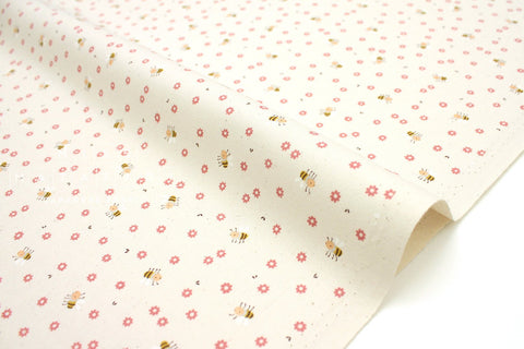 Japanese Fabric Kokka Classics - Busy Bees - red, natural - 50cm