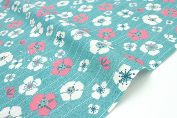 Japanese Fabric Nina Anemone Flowers - blue - 50cm