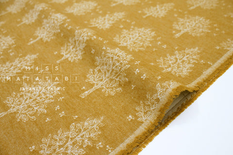 Japanese Fabric Kokka In the Forest Jacquard - mustard - 50cm