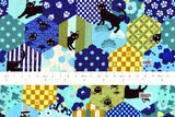 Japanese Fabric Boy Cat Patch - blue, green - 50cm