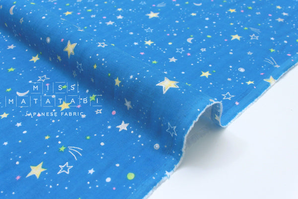 Japanese Fabric starry night double gauze - blue, metallic silver - 50cm