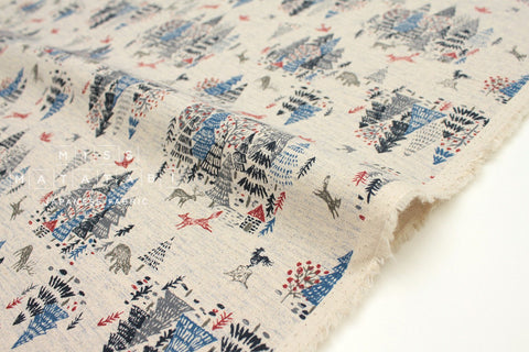 Japanese Fabric Kokka Hokkori Life Fox Forest - blue - 50cm