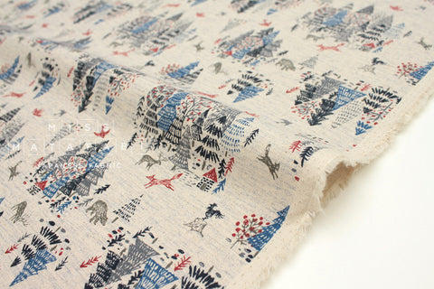 Japanese Fabric Kokka Hokkori Life Fox Forest - blue - fat quarter