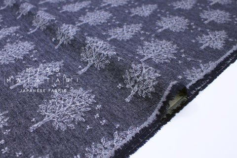 Japanese Fabric Kokka In the Forest Jacquard - navy blue - 50cm