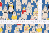 Japanese Fabric Dandy Bear Canvas - blue - 50cm