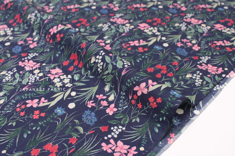 Japanese Fabric Delicate Flora - cotton lawn - navy - 50cm