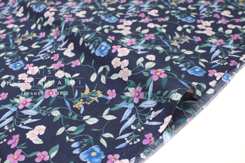 Japanese Fabric Floral Vines - cotton lawn - navy blue - 50cm