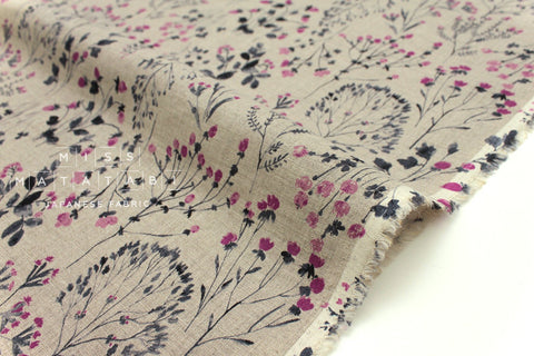 Japanese Fabric 100% linen Wildflowers - charcoal, dahlia -  50cm