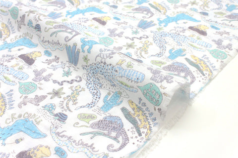 Japanese Fabric Kei Fabric Reptiles double gauze - pale blue, grey, yellow, green - 50cm