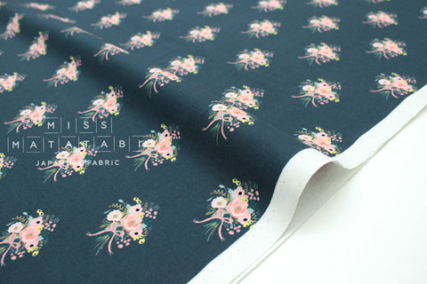 Cotton + Steel English Garden - bouquets green navy - 50cm