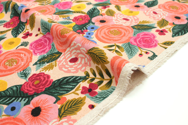 Cotton + Steel English Garden canvas - Juliet Rose cream - 50cm