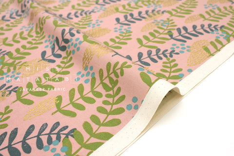 Cotton + Steel Imagined Landscapes - fern dell - rose, gold metallic - 50cm