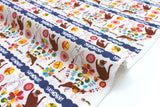 Japanese Fabric Folk Cats dobby - white - fat quarter