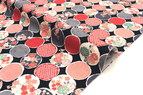 Japanese Fabric Floral Windows dobby - black, red, grey - 50cm