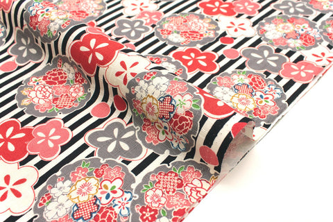 Japanese Fabric Floral and Stripes dobby - black, red, grey - 50cm