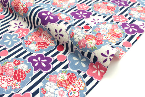 Japanese Fabric Floral and Stripes dobby - navy, pink, purple - 50cm