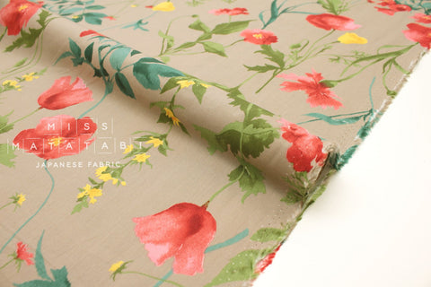 Japanese Fabric Poppies rayon lawn - milk coffee - 50cm