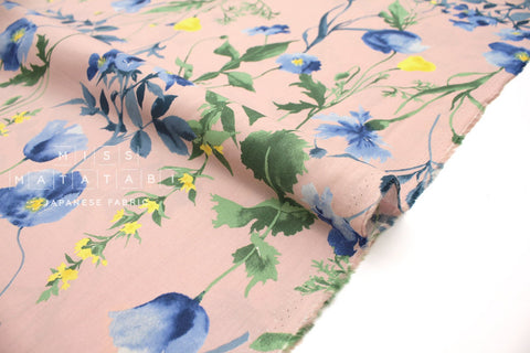 Japanese Fabric Poppies rayon lawn - pink - 50cm